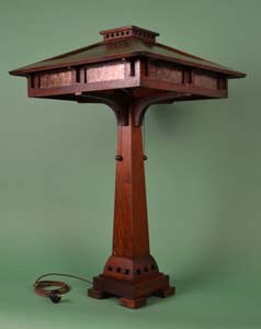 Ragsdale mission oak mica and stained glass table lamps prairie craftsman table lamp mica lamp prairie aloadofball Image collections