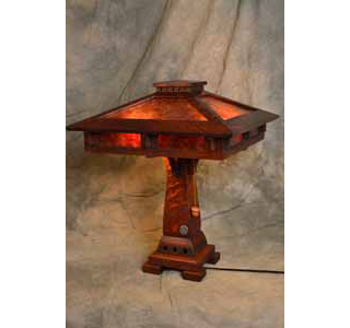 Ragsdale mission oak mica and stained glass table lamps prairie craftsman table lamp aloadofball Image collections